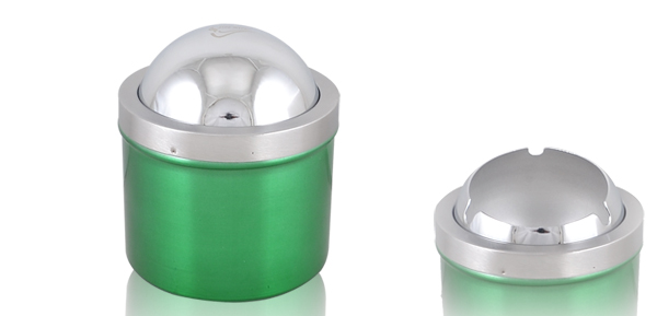 Flap Cover Alloy Green Cylindrical Housing Ash Holder Smoking Cigar Ashtray