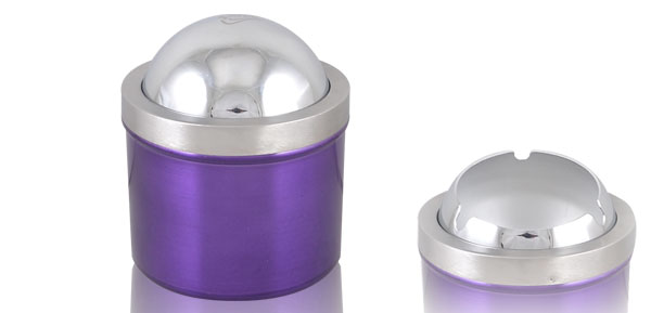 Alloy Ball Shaped Flap Cover Tobacco Cigarette Ash Holder Ashtray Purple