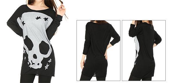 Women Long Sleeves Skull Stars Loose Tunic Shirt Black M (US 10)