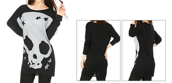 Ladies Black Stars Skull Pattern Stretchy Scoop Neck Casual Tunic Shirt L