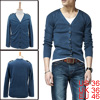 Men Simple Button Up Front V Neck Stretch Steel Blue Knit Shirt S