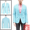 Men Light Blue Notched Lapel One Button ...