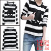 Mens Black White Korea New Fashion Long Sleeve Striped Knit Shirt...
