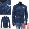 Mens Korea Fashion Autumn Long Sleeve Dark Blue Printed Shirt S