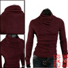 Men Casual Long Sleeves Pullover Simple Burgundy Kntting Shirt S