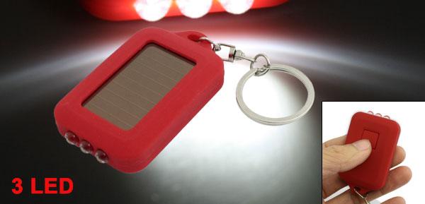 Mini 3 LED Solar Powered Flashlight Torch Key Chain Ring Keyring Red