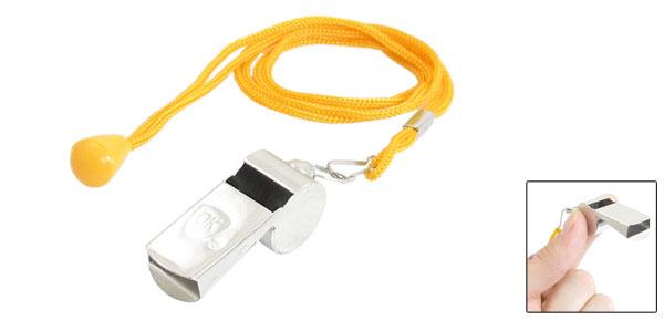 Referee Take Attention Silver Tone Metal Whistle Toy w Strap