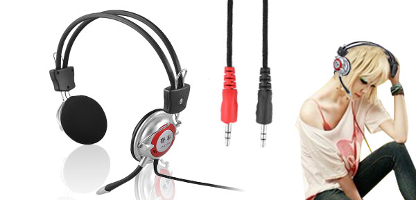 Music MP3 MP4 Computer Headset Earphone 3.5mm Plug w Microphone