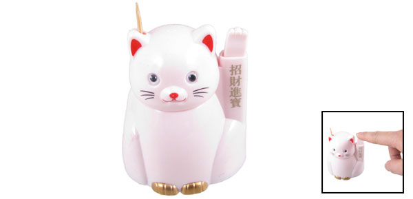 Cartoon Cat Style Plastic Automatic Toothpick Box Case Holder Light Pink