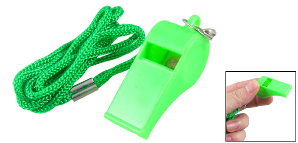 Light Green Plastic Sports Referee Whistle w Lanyard Cord