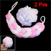 Household Bathing Foam Bubble Mesh Bath Shower Pouf Pink White 2P...