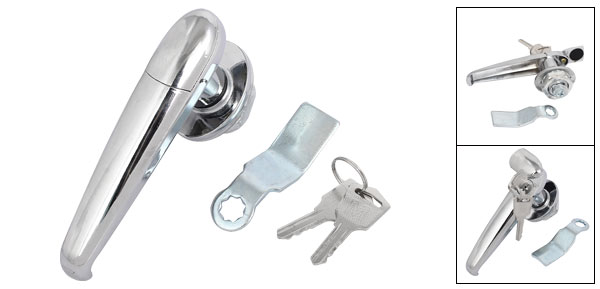 Rotary Handle Recessed Metal Lock w 2 Keys for File Cabinet Door