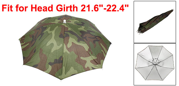 Elastic Headband Camouflage Pattern Sun Rain Umbrella Hat Cap for Fishing