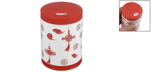Red White Chinese Knot Pattern Cylinder Plastic Housing Toothpick Holder