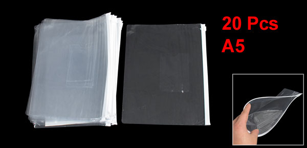 20 Pcs A5 Paper Size White Silder Grip Zipper Bags Clear for File Folder