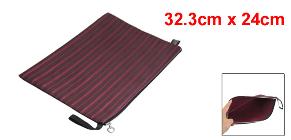 Striped Zipper Closure Pen Document File Bag Burgundy Black for A4 Paper