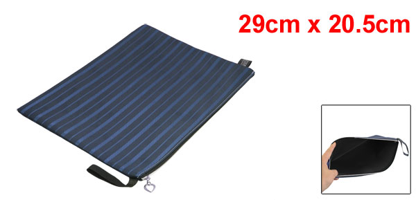 Striped Zipper Closure Pen Document File Bag Blue Black for B5 Paper
