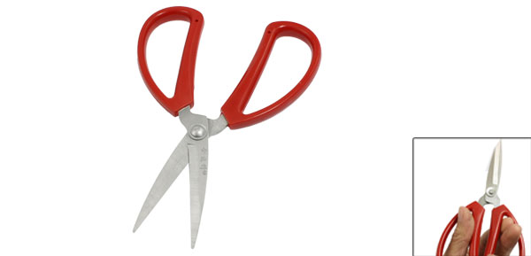 Office Red Plastic Coated Grip Straight Blade Scissor Cutter Tool