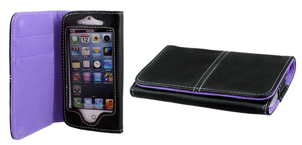 Purple Black Faux Leather Flip Case Cover Pouch Protector for Apple iPhone 5 5G