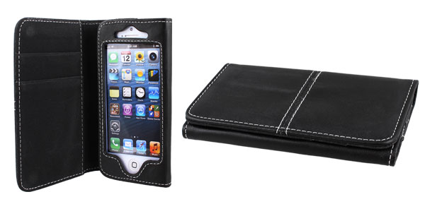 Black Faux Leather Flip Case Cover Pouch Protector for Apple iPhone 5 5G 5th