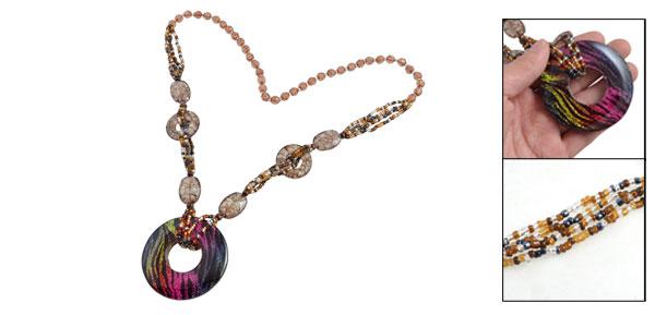 Lady Colorful Beads Glittery Powder Zebra Print Round Pendant Sweater Necklace