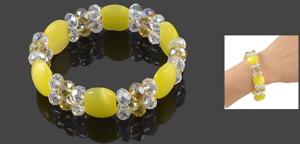 Yellow Plastic Rectangle Beads Stretchy Layered Bracelet 0.7