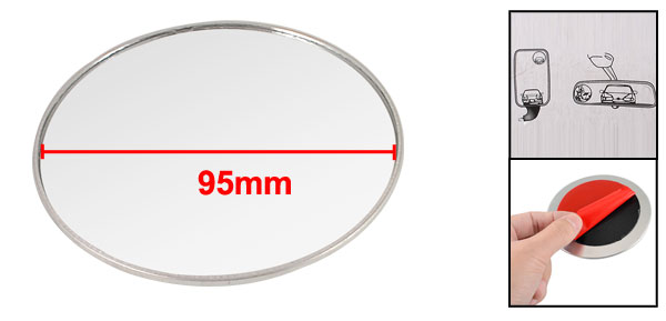 Car 95mm Convex Round Wide Side Angle Rearview Blind Spot Mirror Silver Tone