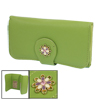 Women Lychee Pattern Foldable Green Faux...