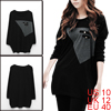 Allegra K Ladies Black Long Sleeve Buttons Decor Front Loose Tunic Shirt M