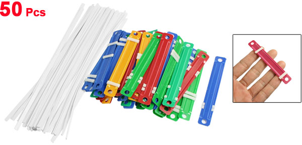 Office School Plastic Binding Two-Piece Document Paper Fastener Colorful 50 Pcs