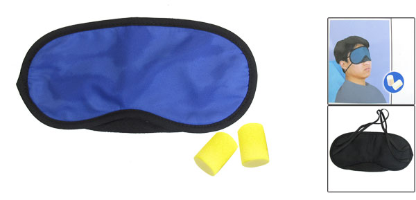 Blue Black Stitched Elastic Band Eyeshade Mask + Pair Earplugs