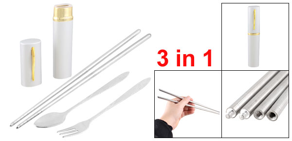Travel 3 in 1 Stainless Steel Spoon Chopsticks Fork Set w Gold Tone Gray Case
