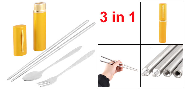Travel 3 in 1 Stainless Steel Spoon Chopsticks Fork Set w Gold Tone Yellow Case