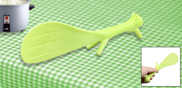 Green Plastic Squirrel Design Non-stick Rice Spoon Scoop 21cm Length