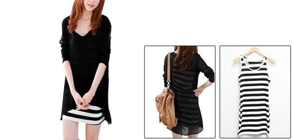 Ladies Black White Horizontal Stripes Tank Dress w Chiffon Splice Shirt XS