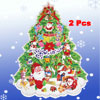 2 Pcs Santa Claus Snowman Decor Christmas Tree Design Wall Decals...