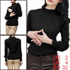 Allegra K Ladies Black Mesh Splice Design Solid Color Casual Top ...