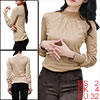 Allegra K Lady Beige Long Sleeves Mesh Panel Front Casual Blouse XS