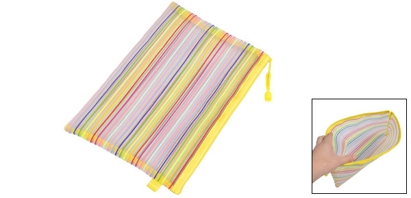 Zip up Nylon Mesh Multicolor Stripes A4 Paper Documents Pen File Bag Storage Folder