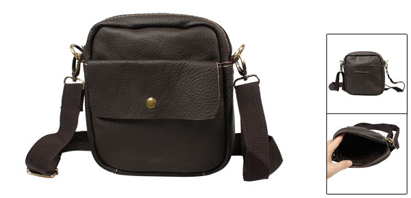 Adjustable Shoulder Strap Coffee Color Faux Leather Zipper Bag for Lady Man