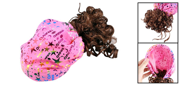 Girl Letters Star Design Flexible Hairband Hair Curly Wig Periwig Fuchsia Hat