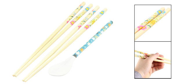 2 Pairs Floral Pattern Wooden Tableware Chinese Chopsticks w Plastic Spoon