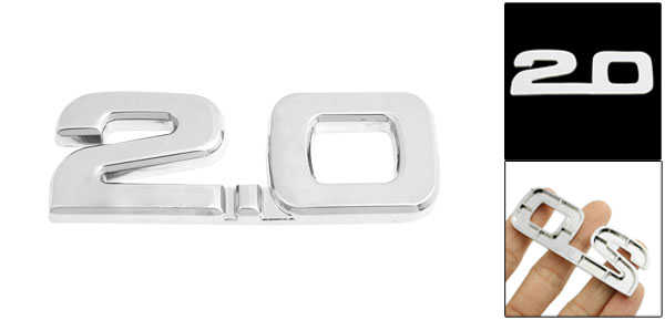 Car Autos Alloy 2.0 Decal Emblem 3D Badge Sticker Decoration Silver Tone