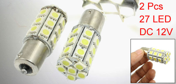 2 Pcs White 1156 5050 SMD 27 LED Turn Tail Light Bulbs for Auto Car