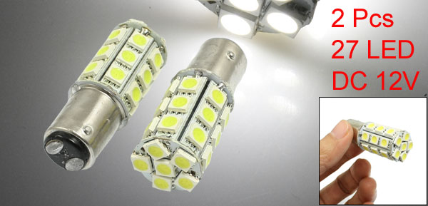 2 Pcs Vehicle Car 1157 White 27 5050 SMD LED Brake Turn Tail Lights