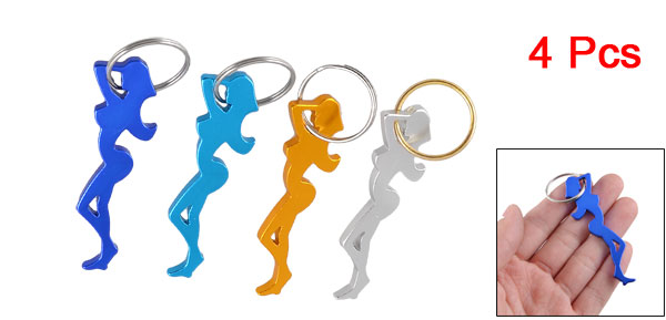 Colorful Beauty Girl Shaped Aluminum Bottle Flask Opener Keychain 4 Pcs