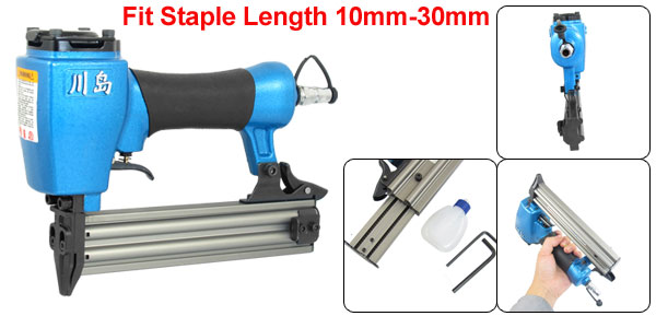10mm-30mm Staple Air Pneumatic Nail Gun Nailer Blue w Hex Wrench