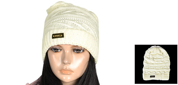 Letters Pattern Roll up Knitted Stretchy Beanie Hat Cap Off White for Lady
