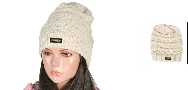 Lady Woman Knitting Winter Warmer Elastic Roll up Hat Beanie Beige 28cm Depth