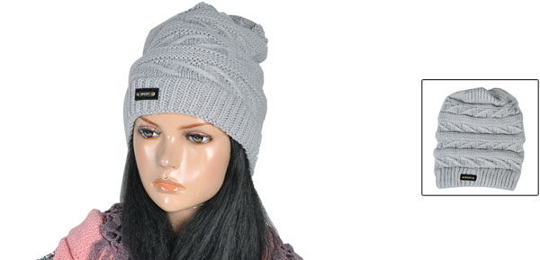 Lady Woman Roll up Letters Printed Elastic Knit Beanie Cap Hat Gray 28cm Depth